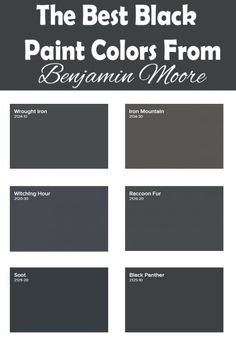 Black paint colors can vary from shade to shade, here are 9 top picks from Benjamin Moore. Dark Paint Colors, Favorite Paint Colors, Exterior Paint Colors, Paint Colors For Home, Modern Paint Colors, Gray Paint, House Colors, Benjamin Moore Exterior Paint, Benjamin Moore Wrought Iron