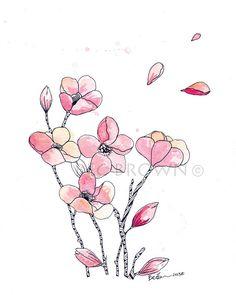 "Pink Cherry Blossom Watercolour Art Drawing 8x10"" Print (unframed)"