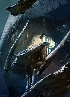 Could also pass as an underwater scene. Sparth - Cover Art for The Best Science Fiction and Fantasy of the Year, Volume 6 Matte Painting, Armadura Medieval, Concept Art World, Sci Fi Ships, Concept Ships, Futuristic Art, Science Fiction Art, Fantasy Illustration, Book Cover Art