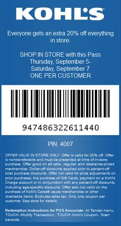 Pinned September 5th: 20% off everything at #Kohls #coupon via The Coupons App