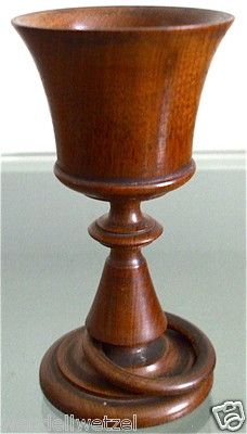 Vintage Wood Wooden Goblet Cup Handmade with Ring | eBay [Attractive goblet with captive ring. Seam at base of cup is a little rough but otherwise a nice project.