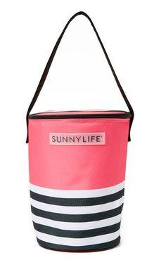pink and stripe cooler bag
