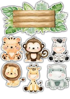 Safari Birthday Party, Jungle Party, Anniversaire Wonder Woman, Safari Party Decorations, Felt Animal Patterns, Safari Cakes, Baby Clip Art, Safari Theme, Baby Cards