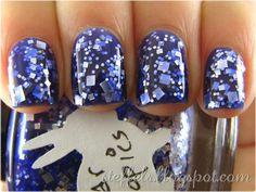 Nails. Blue. Glitter