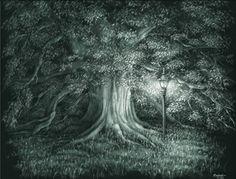 """""""Century Tree"""" by artist Andrea Schouten, on scratchboard  www.ArtsyShark.com"""