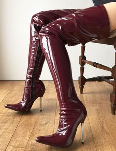 LETHAL weapon silver metal high heel step Hi Show Boot Patent Glossy PVC raisin wine - LETHAL weapon silver metal high heel crotch Hi Show Boot Patent Glossy PVC raisin wine - Silver High Heels, Platform High Heels, Black High Heels, Thigh High Boots, High Heel Boots, Heeled Boots, Botas Sexy, Stilettos, Stiletto Heels