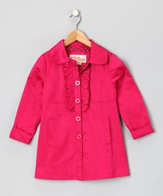 Take a look at this Bright Rose Ruffle Swing Coat by Blow-Out on #zulily today!