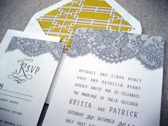 love the lace juxtaposed with geometric pattern   #graphicdesign #invitation
