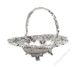 "Antiques Atlas - Large Georgian Sterling Silver 12"" Basket 1822"