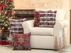 Rich Christmas reds, fir tree green, and shimmering gold metallic threads give your home the feeling of a traditional holiday season with these plush throw pillows. #holidaydecor http://ss1.us/a/ZpkJH1eS