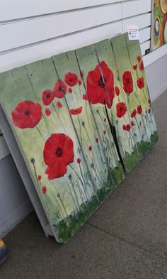 Poppies on pallet