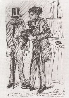 Dante Gabriel Rossetti - Rossetti and Deverell, 1853. This cartoon was enclosed in a DGR's letter to Deverell, along with another sketch mocking a mutual patron.