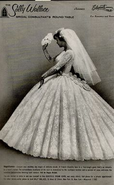 Modern Bride Magazine 1967 My wedding gown, felt like Cinderella! Chic Vintage Brides, Vintage Wedding Photos, Vintage Gowns, Vintage Bridal, Vintage Weddings, Country Weddings, Lace Weddings, Beautiful Wedding Gowns, Wedding Dresses
