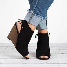 Peep Toe Wedge Booties - Black from SunnyMIA. Saved to Epic Wishlist. Shop more products from SunnyMIA on Wanelo.