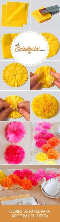 Llena de color la sobremesa de tu recepción con una tierna decoración hecha con flores de papel. Pon manos a la obra y atrévete crear una imagen muy primaveral que a todos tus invitados les encantará.