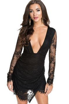 Solid Color Plunging Neck Lace Dress