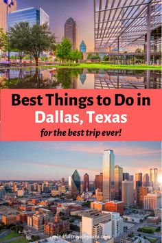 Looking for unique & cool things to do in Dallas, Texas? Here you have my Dallas Travel Guide with the best travel tips & top places to visit in Dallas. You'll find everything from fun things to do in Dallas with kids to free things to do in Dallas with couples in this ultimate Texas travel guide. Dallas Skyline | Dallas Texas | What to do in Dallas | Places to Eat in Dallas | Dallas Bucket List | Dallas Restaurants | Downtown Dallas | #Dallas #Texas #UsaTravel Travel Blog, Usa Travel Guide, Travel Usa, Travel Tips, Downtown Dallas Texas, Dallas Skyline, Dallas Travel, Texas Travel, Free Things