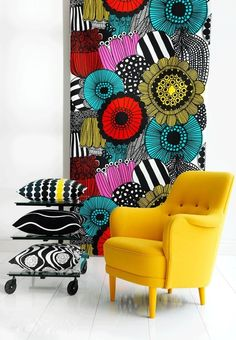 Never ever be afraid of colour. Embrace it with passion! Loving the print on the fabric! An out of the box idea for wall covering.
