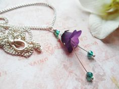 Lilac bell flower necklace with turquoise Swarovski crystal beads, bridal jewelry, Selma Dreams nature inspired jewelry gifts by SelmaDreams on Etsy