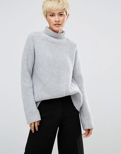 Weekday | Weekday Roll Neck Sweater with Asymmetric Detail