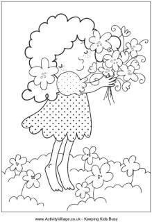 Spring bouquet colouring page, little girl with a bunch of flowers