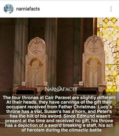I never realized this! I love the amount of detail that the set designers went into with the crowns and the thrones! << Everything was beautiful Narnia Movies, Narnia 3, Book Tv, Book Nerd, Cair Paravel, Chronicles Of Narnia, Cs Lewis, Book Fandoms, Disney And Dreamworks
