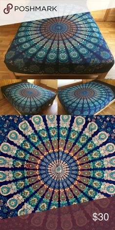 Bed wall floor spread beach towel boho hippy gift Brand new.Handmade with natural dyes.   Uses: bed spread, couch spread, curtains, wallhangings, Celling decor, beach mat, picnic mat, table cloth, yoga & meditation.  Size: Queen bed )   Material: 100% Cotton   Wash: cold wash Sweaters Cardigan