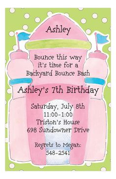 Pink #BounceHouse Invitation #PartyInvitations  #KidsBirthdayParty