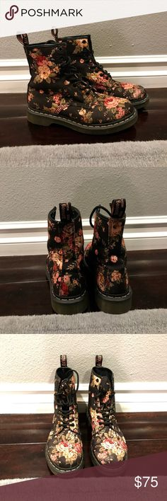 Dr. Marten Floral Combat Boots Size 7. Hardly worn. Broken in just enough that they're extremely comfortable but still look brand new! Cute floral pattern gives them an extra girly touch! No trades. Make me an offer! Dr. Martens Shoes Combat & Moto Boots