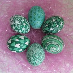 Pysanky - love the varied greens