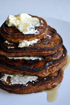 tall-stacked pumpkin pancakes | Eat the cookie! - I used Truvia instead of the maple syrup and didn't do the cream cheese. These were delicious!