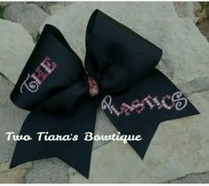I originally made this cheer bow for a group going to camp! The Plastics in pink on black! Cheer and team bows by Two Tiara's Bowtique on Etsy or Facebook!  Mean Girls, best friends, cheer, softball Check out this item in my Etsy shop https://www.etsy.com/listing/219908611/the-plastics-black-cheer-bow-team