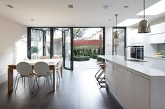 Large bi-fold doors from the kitchen diner: