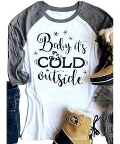 c62e529a9c Baby It's Cold Outside Funny Christmas Snowman T Shirt Women Holiday Raglan  Tops - White - C4188L48Y9N