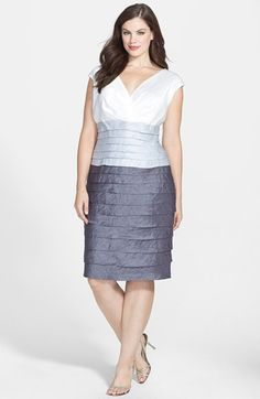 London Times Colorblock Shutter Pleat Dress (Plus Size) available at #Nordstrom