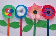 Coffee filter or cupcake flowers.... very cute!