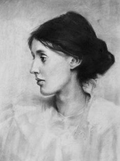 Virginia Wolfe by Jeremy Mann, charcoal drawing on paper, 18 x 24. Tips for drawing portraits in profile.