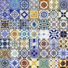 There are 49 tiles in the collage. I took these pictures of the tiles on different buildings in Lisboa and Porto. This was quite a project I must confess.....