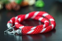 """Bead crochet necklace """"Candy cane"""" - Beaded necklace, Red necklace, Beaded rope, Handmade necklace, Christmas jewelry, Christmas gift"""
