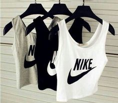 Wheretoget - Nike tank crop tops in white, black and grey
