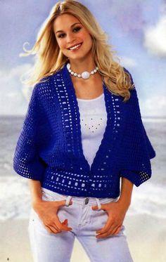 Chaleco poncho en azul   Crochet y Dos agujas