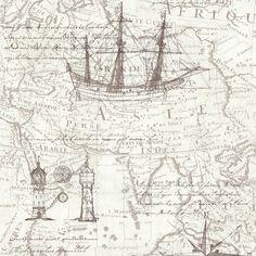 P&S International P&S Vintage Atlas Map Pattern Old Nautical Non Woven Textured Wallpaper 42110-30
