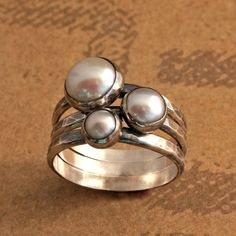 Pearl Stacking Rings Sterling Silver Set of Three Stackable White Pearls- Etsy