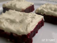 Red Velvet Brownies with White Chocolate Buttercream Frosting - this combines two of my favorite things!