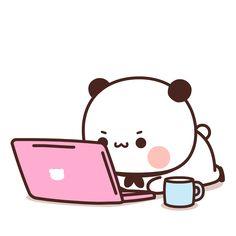 Cute Bunny Cartoon, Cute Kawaii Animals, Cute Couple Cartoon, Cute Love Cartoons, Kawaii Cute, Chibi Panda, Chibi Cat, Panda Bear, Cute Panda Wallpaper