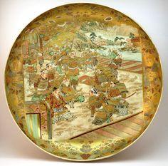FINEST ANTIQUE 19thC JAPANESE MEIJI (1868-1912) SATSUMA CHARGER PLATE, SIGNED Japanese Porcelain, Japanese Ceramics, Japanese Pottery, Japanese Art, Japanese Beauty, Satsuma Vase, Meiji Era, Antique Plates, Korean Art