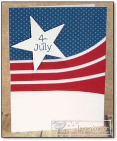handmade 4th of July card ... red, white and  blue ... strong clean lines ... luv this use of the PTI die cut lines ...