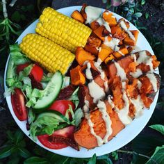 """CHERIE TU on Instagram: """"DINNER  Baked sweet potato + pumpkin drizzled with a tahini dressing (@thesourcebulkfoods tahini, lemon, coconut sugar, almond milk), steamed corn and salad  Will be uploading a YouTube video some time this week """""""