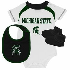 Michigan State Spartans Infant Creeper, Bib & Booties Set - White/Black $30
