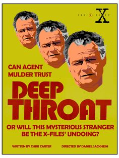 "Deep Throat - 1x01. Getting ready for the rewatch! For the first regular series episode, I was inspired by the poster for another famous ""Deep Throat"" - and no, not the anonymous source on the Watergate scandal. Using the coloring and layout of the 1972 adult film's poster, I repeated a likeness of Jerry Hardin's mysterious character to represent the many possible agendas he may have. Like the poster? Buy it here."